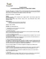 Réunion du Conseil Municipal du 14 octobre 2020