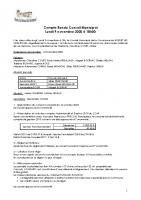 Réunion du Conseil Municipal du 9 novembre 2020