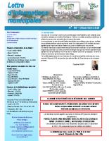 Lettre d'informations municipales n°88 de décembre 2018