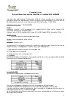 Réunion du Conseil Municipal du 16 décembre 2020
